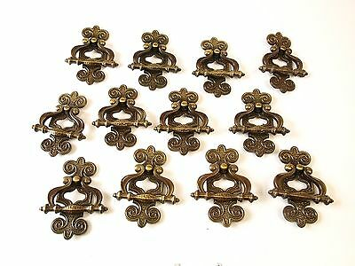 12 Vintage Scrolled ornate Brass Drop Cabinet Handles Drawer Pulls Hardware lot