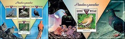 Z08 GB15309ab GUINEA-BISSAU 2015 Pigeons and doves MNH ** Postfrisch Set