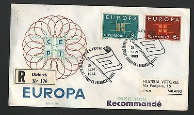 PG-A207 LUXEMBOUR - Europa Cept, FDC 1963 Cover