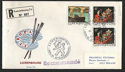 PG-A209 LUXEMBOURG - Europa Cept, Fdc Cover, 1975 Paintings Reg. To Milan Italy