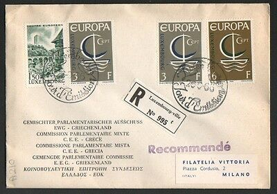 PG-A210 LUXEMBOURG - Europa Cept, Fdc Cover, 1966 Reg. To Milan Italy