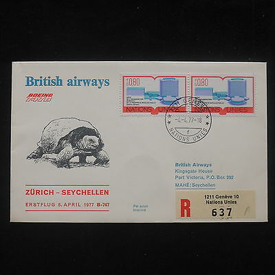 PG-A495 SEYCHELLES IND - British Airways, 1977 Ffc From United Nations Cover