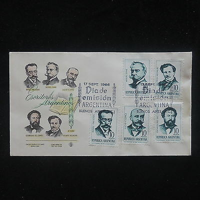 PG-A523 ARGENTINA - Fdc, Dia de Emision 1966 Writers and Poets Cover