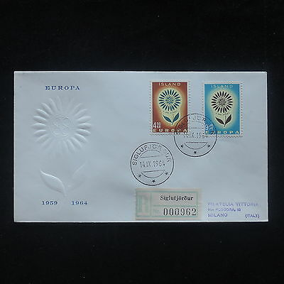 PG-A532 ICELAND - Europa Cept, 1964 Fdc To Registered To Italy Cover