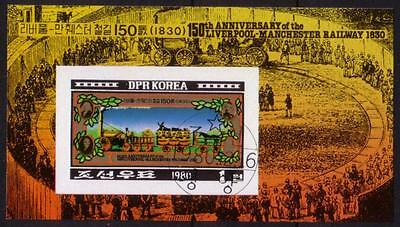 PG-A594 TRAINS - Korea, Liverpool Manchester Railway 1980 Used Cto Sheet Imperf