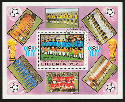 PG-A607 FOOTBALL - Liberia, Argentina '78 World Cup, 1978 Used Cto Sheet