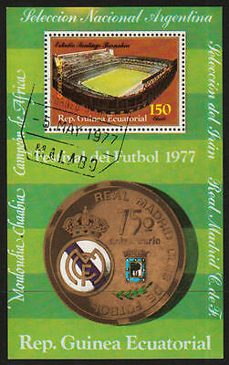 PG-A614 FOOTBALL - Eq. Guinea, Argentina, Real Madrid, 1977 Used Cto Sheet