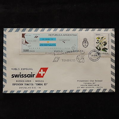PG-A673 ARGENTINA - Swissair, 1983, Special Flight Buenos Aires Basilea Cover