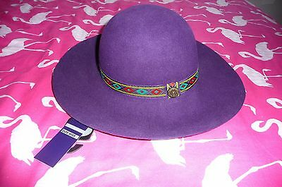 BRAND NEW WITH TAGS Marks & Spencer pure wool purple wide brim hat S-M