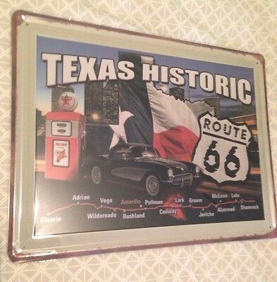 Texas Historic Route 66  Tin Sign, Great for man cave, workshop etc 40x30cm