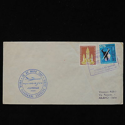 PG-B019 VENEZUELA - Alitalia, 1961 First Flight Caracas Rome Cover