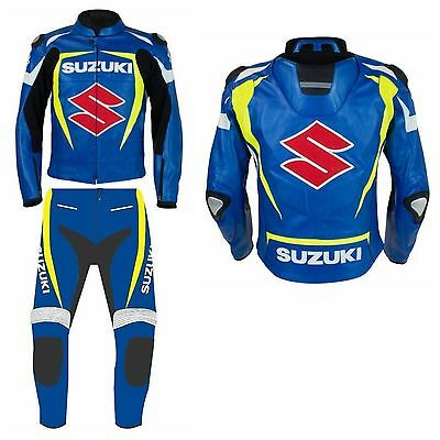 SUZUKI-S-MOTORCYCLE LEATHER SUIT RACING MOTORBIKE SUIT,COWHIDE LEATHER (Replica