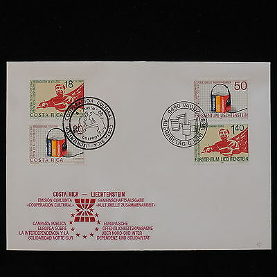 PG-B093 LIECHTENSTEIN - Fdc, 1988 Cultural Cooperation With Costa Rica Cover
