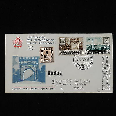 PG-B132 SAN MARINO - Stamp On Stamp, 1959 100Th Anniver. Romagne'S Stamp Cover