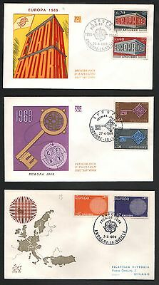 ZG-A102 ANDORRA-FRENCH - Europa Cept, 1968, 1968, 1970 Lot Of 3 Different Covers