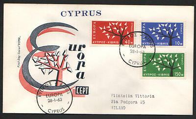 ZG-A108 CYPRUS IND - Europa Cept, 1962-1963 Trees, Fdc Roma Rare Cover