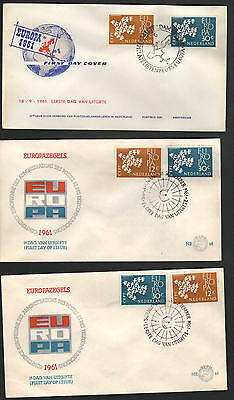 ZG-A164 NETHERLANDS - Europa Cept, 1961 Fdc Nvph 3 Different Covers