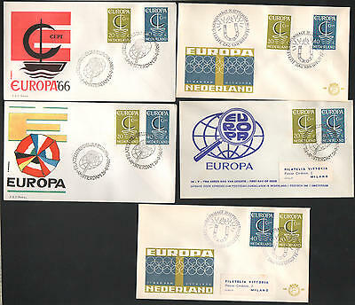 ZG-A165 NETHERLANDS - Europa Cept, 1966 5 Different Fdc Covers