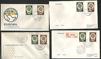 ZG-A166 NETHERLANDS - Europa Cept, Flower 1964, 4 Different Fdc Covers
