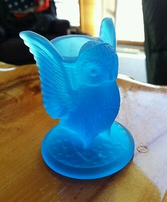 Vintage Westmoreland Cobalt Blue Glass Owl Toothpick Vase Candle Holder Frosted