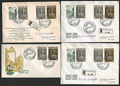 ZG-A207 LUXEMBOURG - Europa Cept, 1966 4 Different Fdc Covers