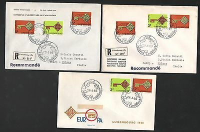 ZG-A208 LUXEMBOURG - Europa Cept, 1968 Fdc 3 Different Covers