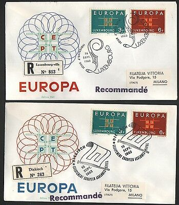 ZG-A211 LUXEMBOURG - Europa Cept, 1963 Registered To Italy 2 Different Covers