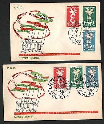 ZG-A212 LUXEMBOURG - Europa Cept, 1958 Fdc Lot Of 2 Different Covers
