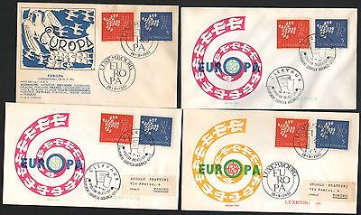 ZG-A244 LUXEMBOURG - Europa Cept, 1961, Fdc, To Italy, Lot Of 4 covers