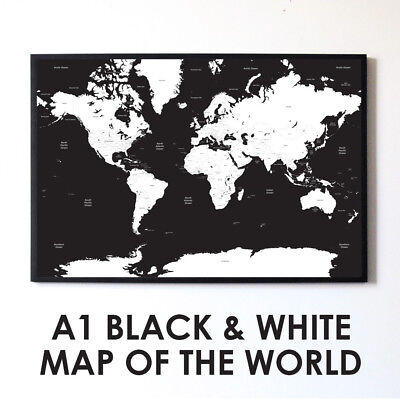 Large Black & White A1 Decorative Map of the World Poster Print Travel Wall Art