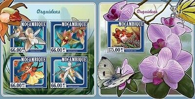 Z08 IMPERFORATED MOZ15124ab MOZAMBIQUE 2015 Orchids MNH ** Postfrisch Set