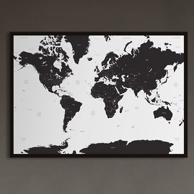 Large White & Black A1 Decorative Map of the World Poster Print Travel Wall Art