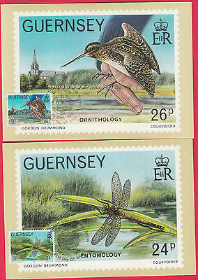 ZG-B088 GUERNSEY - Birds, 1982, Lot Of 2 Maximum Card, Fdc Postcards