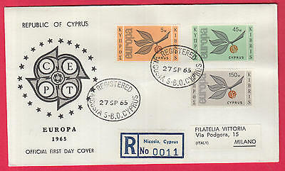 ZG-B108 CYPRUS IND - Europa Cept, Fdc 1965 Registered To Milano Italy Cover