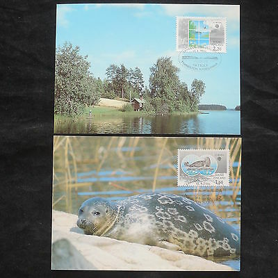 ZG-B125 FINLAND - Nature, 1986, Fdc, 2 Maximum Cards, Marine Life, Postcards