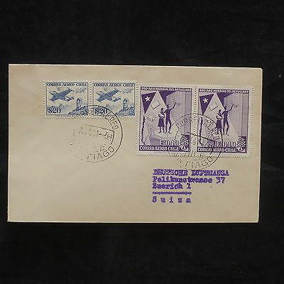 ZG-B134 CHILE - Airmail, 1961, From Santiago To Zurich, Cover