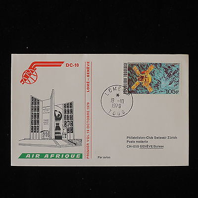 ZG-B202 TOGO IND - Air Afrique, Ffc First Flight 1979 Lome-Geneva Cover