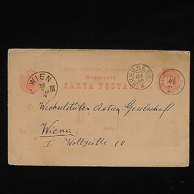 ZG-C033 ROMANIA - Entire, 1890, From Bucarest To Vienna Cover