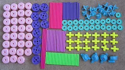 The Classic Tinkertoy Construction Set- Pinks, Purples, & Greens-162 Pcs Ages 3+