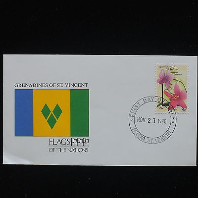 ZG-C182 ST VINCENT & GRENADINES IND - Flowers, 1990, Flags Of Nations Cover