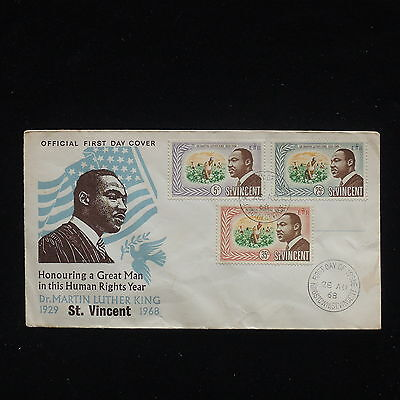 ZG-C208 ST VINCENT - Fdc, 1968 Human Rights Year, Martin Luther King Cover