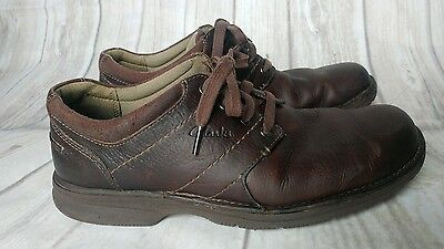 Clarks Mens Brown Leather Lace Up  Oxford Shoes  8.5M Casual Breathable