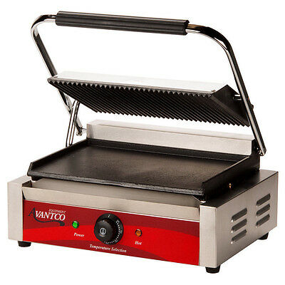 Avantco P75SG Grooved Top / Smooth Bottom Commercial Panini Sandwich Grill 120v