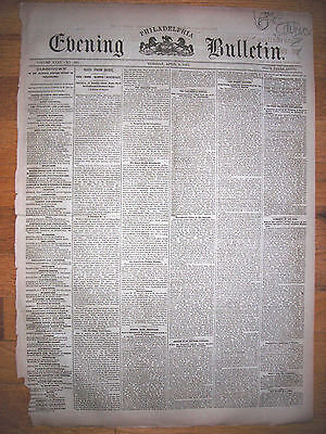The Evening Bulletin (Phila PA) newspaper, 4/4/1882. The Killing of Jesse James