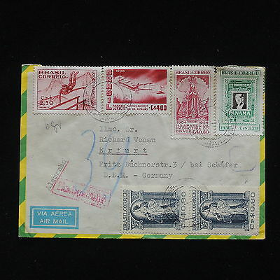 ZG-C354 BRAZIL - Stamp On Stamp, Air Mail To Germany Cover