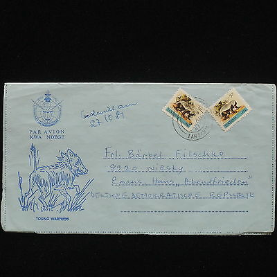 ZG-C473 WILD ANIMALS - Tanzania, 1981, Air Mail To Germany/Ddr Cover