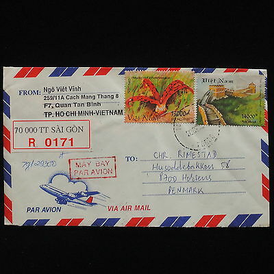 ZG-C478 VIETNAM - Flowers, Air Mail To Denmark Cover