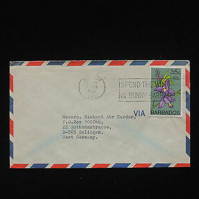 ZG-C496 BARBADOS IND - Flowers, 1976, Air Mail To Germany Cover