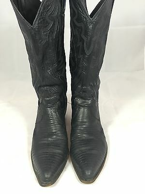 AUTH JUSTIN Black Leather Cowboy Women's Western Boots 7.5B