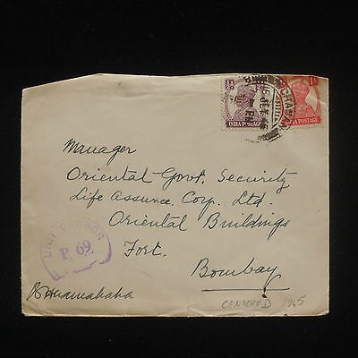 ZG-C531 INDIA IND - Cover, 1945 Censored To Bombay